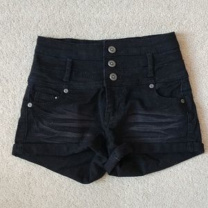High rise black shorts